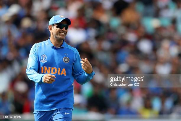 Dhoni of India during the ICC Cricket World Cup 2019 Warm Up match between India and New Zealand at The Kia Oval on May 25 2019 in London England