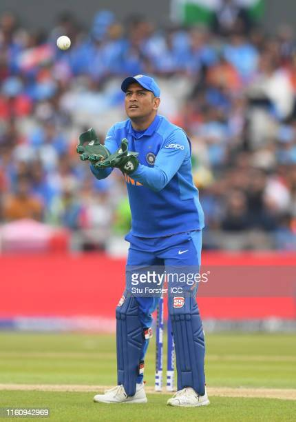 Dhoni of India during the SemiFinal match of the ICC Cricket World Cup 2019 between India and New Zealand at Old Trafford on July 09 2019 in...