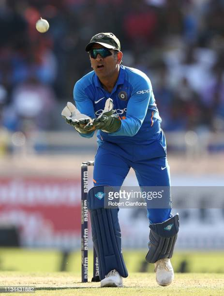 Dhoni of India fields during game three of the One Day International series between India and Australia at JSCA International Stadium Complex on...