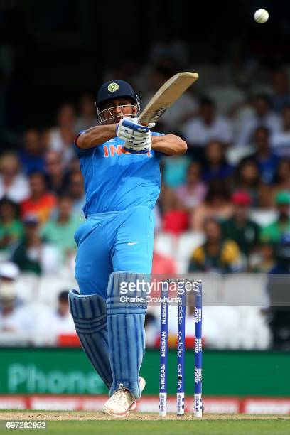 Dhoni of India hits out during the ICC Champions Trophy Final match between India and Pakistan at The Kia Oval on June 18 2017 in London England