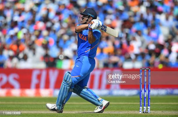 Dhoni of India in action batting during the Group Stage match of the ICC Cricket World Cup 2019 between West Indies and India at Old Trafford on June...