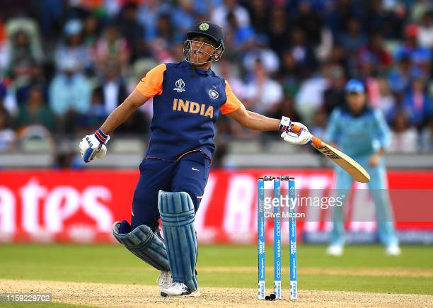 Dhoni of India in action batting during the Group Stage match of the ICC Cricket World Cup 2019 between England and India at Edgbaston on June 30,...