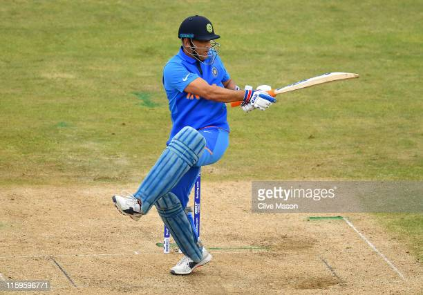 Dhoni of India in action batting during the Group Stage match of the ICC Cricket World Cup 2019 between Bangladesh and India at Edgbaston on July 02...