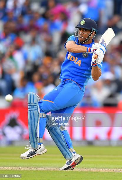 Dhoni of India in action batting during the SemiFinal match of the ICC Cricket World Cup 2019 between India and New Zealand at Old Trafford on July...