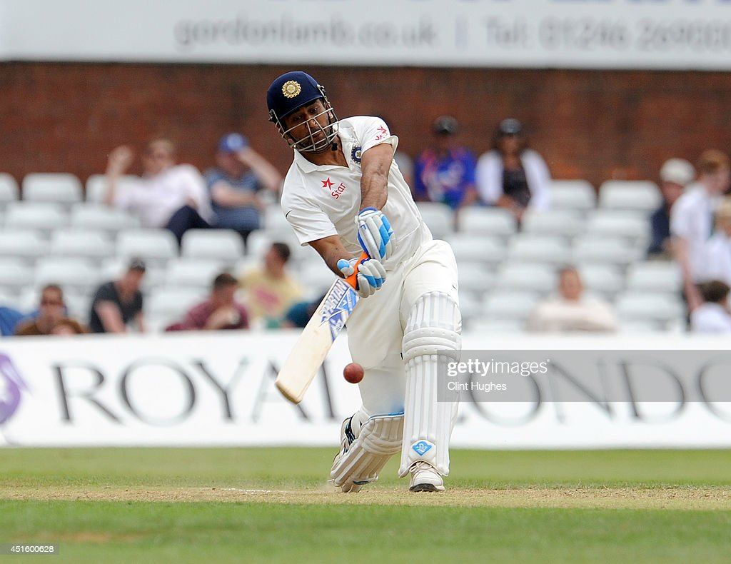 Dhoni of India in action during day two of the tour match between Derbyshire and India at The 3aaa County Ground on July 2, 2014 in Derby, England.