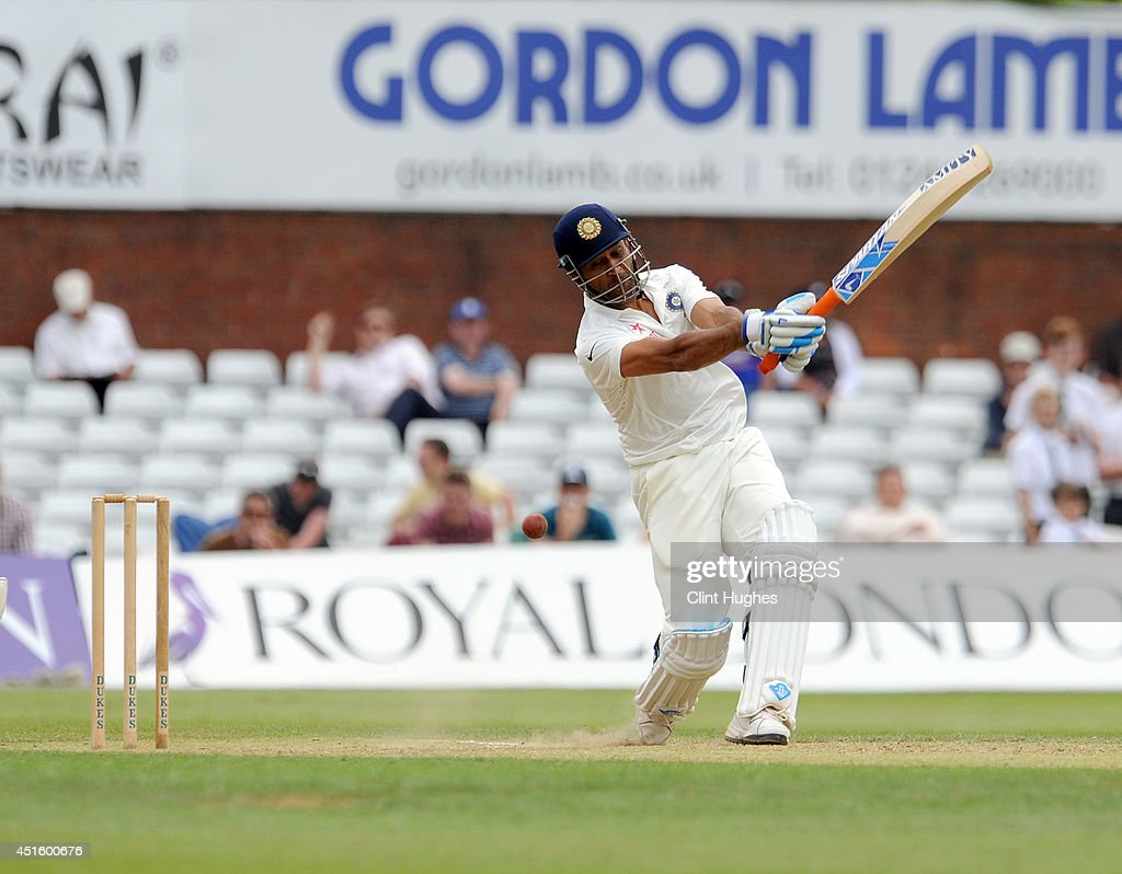 Dhoni of India is bowled by Debyshire's David Wainwright (not in shot) during day two of the tour match between Derbyshire and India at The 3aaa County Ground on July 2, 2014 in Derby, England.
