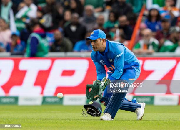 Dhoni of India keeping wicket during the Group Stage match of the ICC Cricket World Cup 2019 between India and Pakistan at Old Trafford on June 16,...
