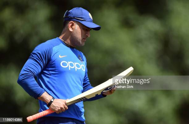 Dhoni of India looks on during a net session at Edgbaston on June 29 2019 in Birmingham England