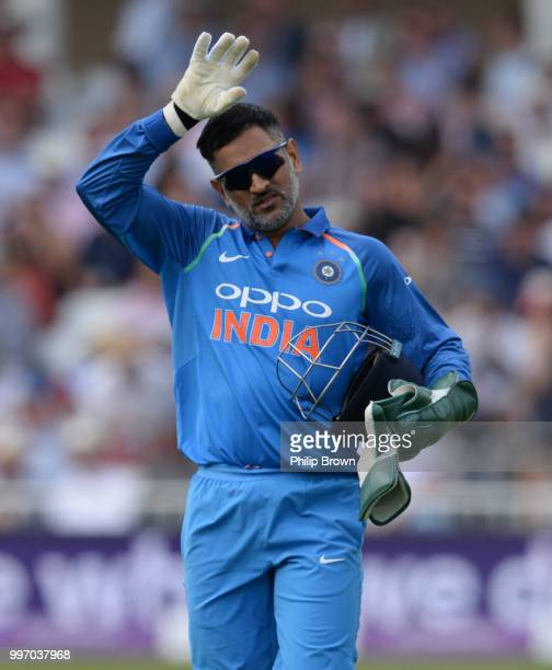 Dhoni of India looks on during the 1st Royal London OneDay International between England and India on July 12 2018 in Nottingham England
