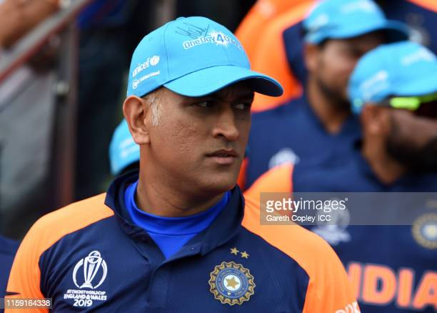 Dhoni of India looks on during the Group Stage match of the ICC Cricket World Cup 2019 between England and India at Edgbaston on June 30 2019 in...