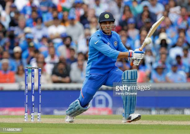 Dhoni of India plays a shot during the Group Stage match of the ICC Cricket World Cup 2019 between India and Australia at The Oval on June 9 2019 in...