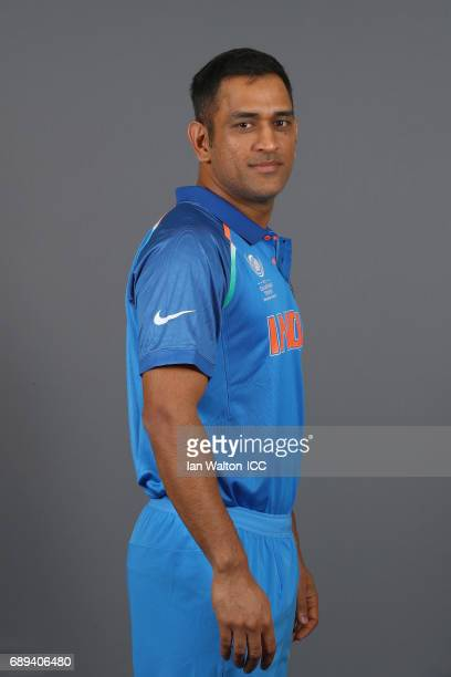 Dhoni of India poses during an India Portrait Session ahead of ICC Champions Trophy at Grange City on May 27 2017 in London England