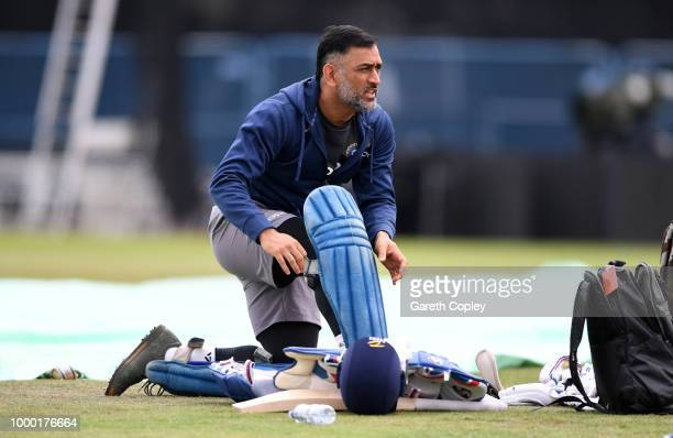 Dhoni of India prepares to bat during a net session at Headingley on July 16 2018 in Leeds England