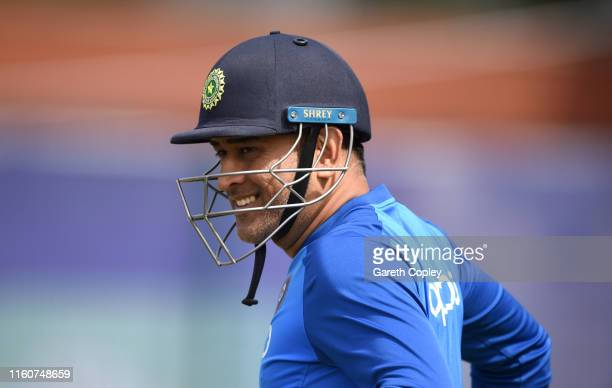 Dhoni of India prepares to bat during a net session at Old Trafford on July 08 2019 in Manchester England