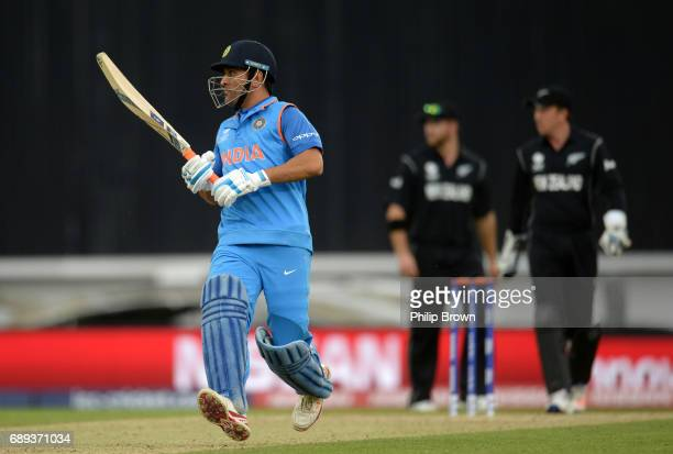 Dhoni of India runs during the ICC Champions Trophy Warmup match between India and New Zealand at the Kia Oval cricket ground on May 28 2017 in...