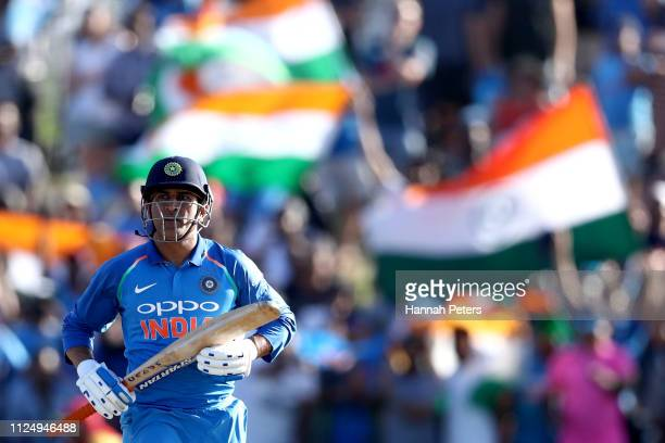 Dhoni of India sets off for a run during game two of the One Day International Series between New Zealand and India at Bay Oval on January 26 2019 in...