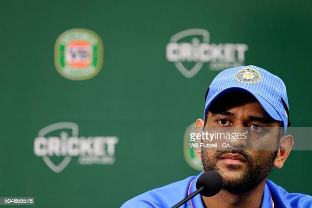 Dhoni of India speaks at a press conference after defeat during the Victoria Bitter One Day International Series match between Australia and India at...