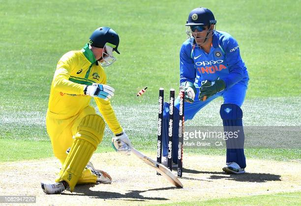 Dhoni of India stumps Peter Handscomb of Australia during game two of the One Day International series between Australia and India at Adelaide Oval...