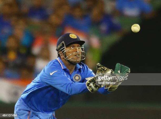 Dhoni of India takes a catch which was ruled not out during the 2015 ICC Cricket World Cup match between South Africa and India at Melbourne Cricket...