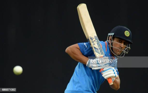 Dhoni of India watches the ball during the ICC Champions Trophy Warmup match between India and New Zealand at the Kia Oval cricket ground on May 28...