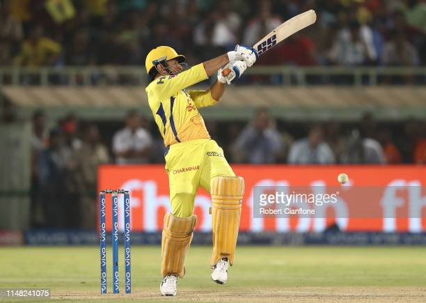 Dhoni of the Chennai Super Kings bats during the Indian Premier League IPL Qualifier Final match between the Delhi Capitals and the Chennai Super...