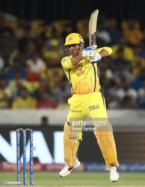 Dhoni of the Chennai Super Kings bats during the Indian Premier League Final match between the the Mumbai Indians and Chennai Super Kings at Rajiv...