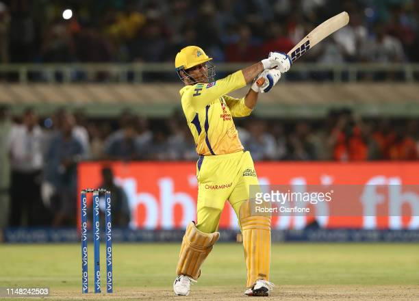 Dhoni of the Chennai Super Kings hits out during the Indian Premier League IPL Qualifier Final match between the Delhi Capitals and the Chennai Super...