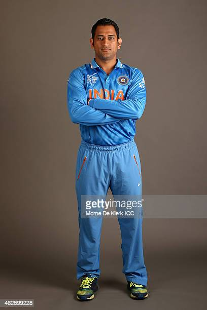 Dhoni poses during the India 2015 ICC Cricket World Cup Headshots Session at the Intercontinental on February 7 2015 in Adelaide Australia