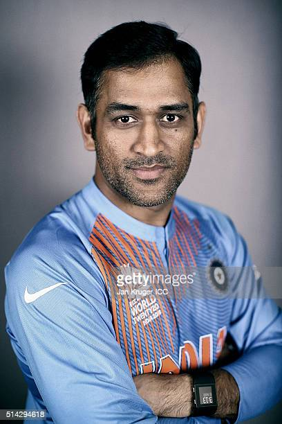 MS Dhoni poses during the India Headshots session ahead of the ICC Twenty20 World Cup on March 8 2016 in Kolkata India