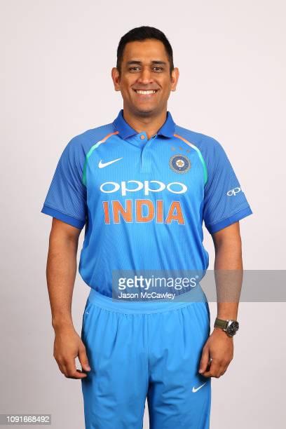 Dhoni poses during the India Men's ODI Headshots Session on January 09 2019 in Sydney Australia