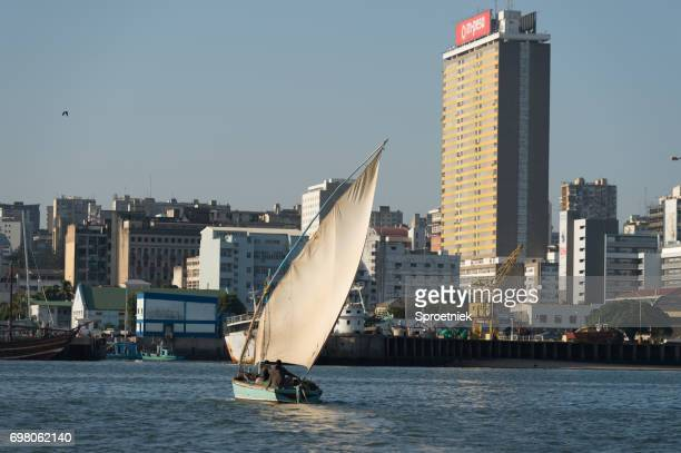 Dhow against backdrop of Maputo city, Mozambique