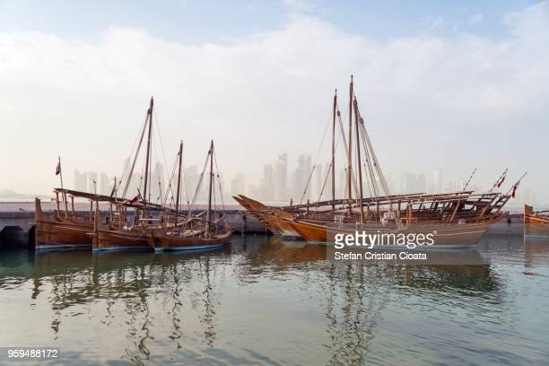 dhow harbour doha qatar - waterfront stock pictures, royalty-free photos & images