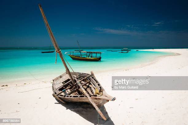 dhow on kendwa beach, zanzibar, tanzania - zanzibar island stock photos and pictures