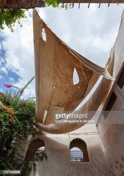 Dhow sail used to make shade in a house, Lamu County, Shela, Kenya on March 6, 2011 in Shela, Kenya.