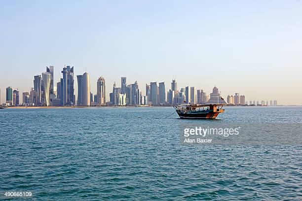 Dhow with Doha cityscape