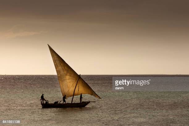 Dhow wooden fisher boat on the Indian Ocean near Zanzibar, Tanzania