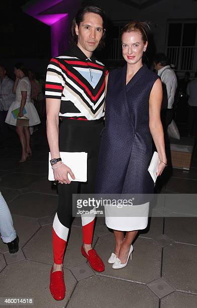 Di Mondo and Polina Proshkina attend MTV ReDefine Cocktail Party at The Shelborne at Shelborne Hotel on December 5 2014 in Miami Beach Florida