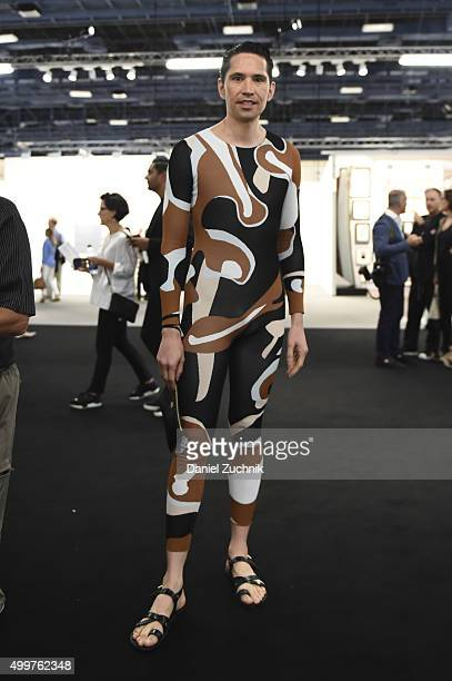 Di Mondo is seen wearing a Christion Dior bodysuit and Tom Ford sandals during Art Basel Miami Beach at the Miami Beach Convention Center on December...