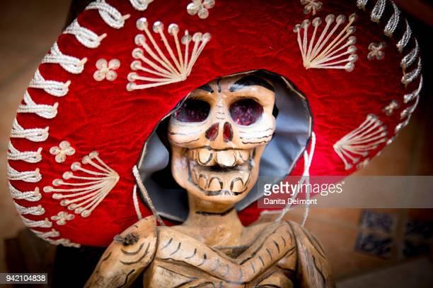 Dia de los Muertos skeleton and sombrero, Todos Santos, Baja California Sur, Mexico