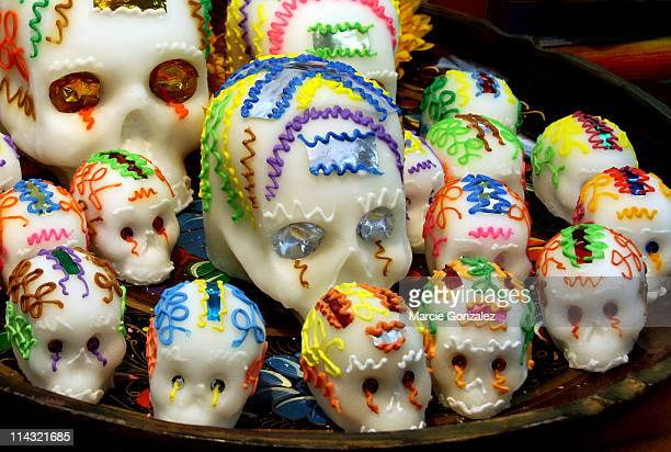 dia de los muertos sugar candy skulls - sugar skull stock photos and pictures