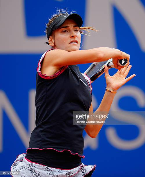 Dia Evtimova of Bulgaria plays a forehand in her match against Dalila Jakupovic of Slovenia during Day 1 of the Nuernberger Versicherungscup on May...