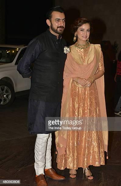 Dia Mirza and Sahil Sangha at the wedding reception of Shahid Kapur and Mira Rajput in Mumbai