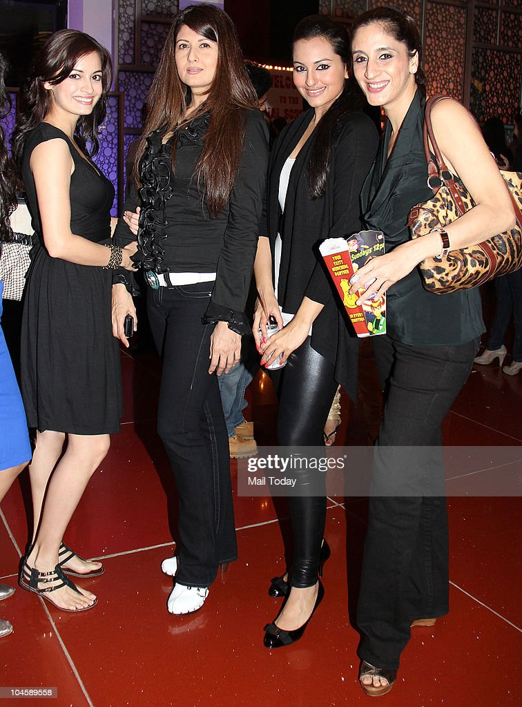 Dia Mirza Sangeeta Bijlani Sonakshi Sinha and Farah Khan Ali at a special screening of the film Anjaana Anjaani in Mumbai on September 30 2010