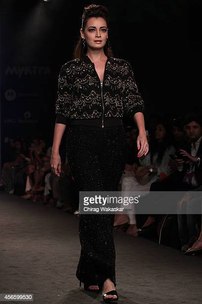 Dia Mirza showcases designs by Marquee by Vero Moda during day 1 of Myntra Fashion Weekend 2014 at The Palladium Hotel on October 3 2014 in Mumbai...
