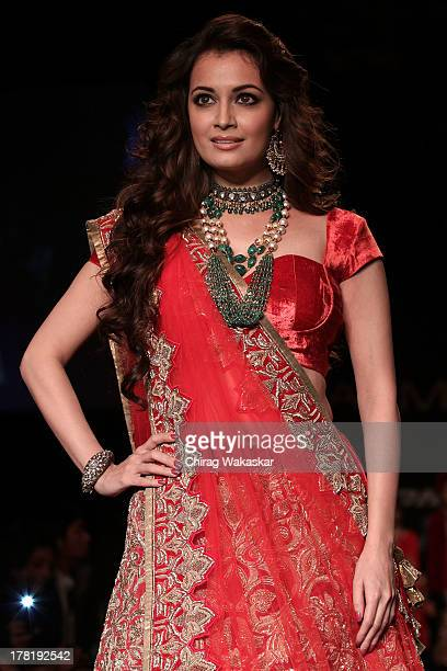 Dia Mirza showcases designs by Shyamal Bhumika during day 5 of Lakme Fashion Week Winter/Festive 2013 at the Hotel Grand Hyatt on August 27 2013 in...