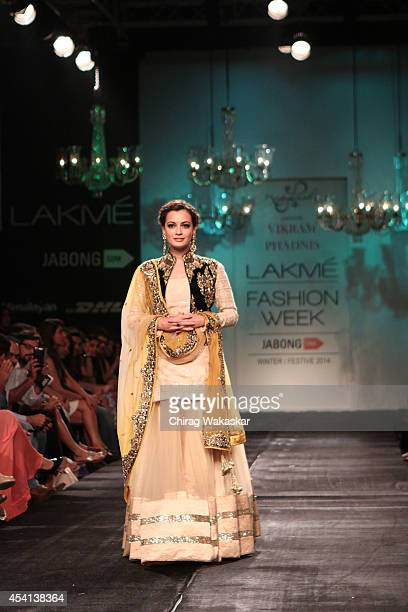 Dia Mirza showcases designs by Vikram Phadnis during day 5 of Lakme Fashion Week Winter/Festive 2014 at The Palladium Hotel on August 24 2014 in...