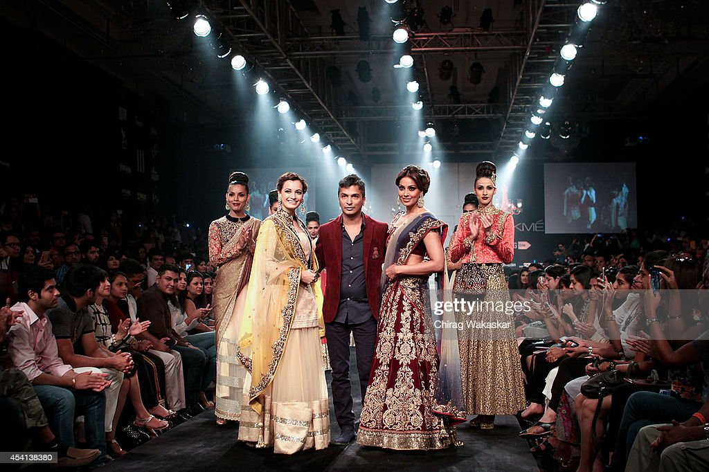 Dia Mirza Vikram Phadnis Bipasha Basu walk the runway during day 5 of Lakme Fashion Week Winter/Festive 2014 at The Palladium Hotel on August 24 2014.