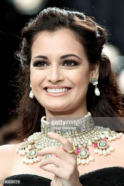 Dia Mirza walks the runway in a Golecha Jewellery design at the India International Jewellery Week 2012 Day 2 at the Grand Hyatt on on August 20 2012...