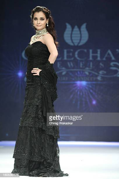 Dia Mirza walks the runway in a Golecha Jewellery design at the India International Jewellery Week 2012 Day 2 at the Grand Hyatt on on August 20,...
