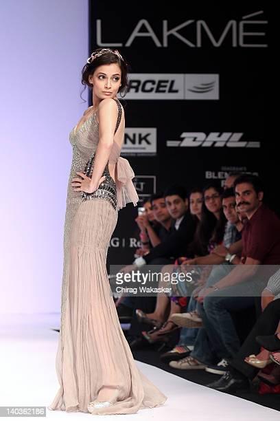 Dia Mirza walks the runway of Khushali Kumar show at Lakme Fashion Week Summer/Resort 2012 Day 1 at the Grand Hyatt on March 2 2012 in Mumbai In
